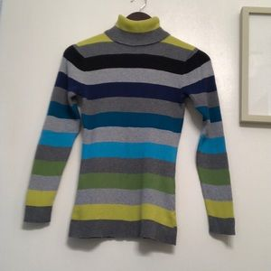 Relativity Ribbed Gray Striped Turtleneck